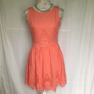 Want & Need // Coral Eyelet Fit & Flare Sun Dress